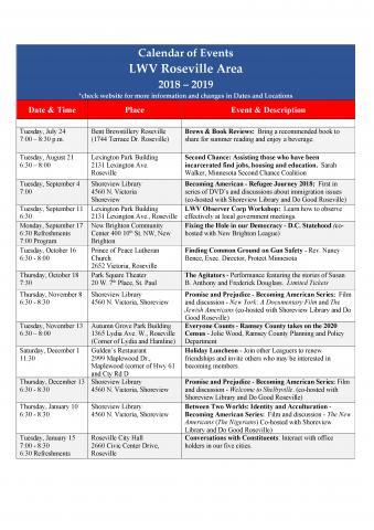 LWV Roseville Area 2018-19 Calendar of Events